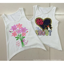 Cotton Girl T-Shirt Vest in Tank with Children Clothes in Sleeveless (SV-016-024)