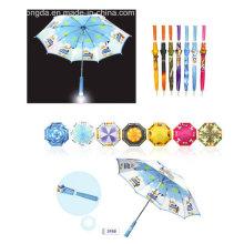 Logo Printed Installed Light in Handle Straight Umbrella (YSC0001)