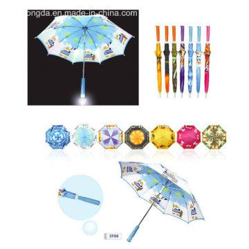 Logo impresso instalado guarda-chuva de luz em punho reto (YSC0001)