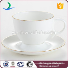 Luxury hotel porcelain coffee cup and saucer set with golden lace high quality