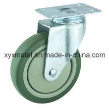 Rodízio giratório de rodízio de médio porte. Materiais de PVC de dupla rolagem com tampa de poeira plástica Projeto de silêncio. Meduim Duty Caster