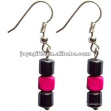 Magnetic Hematite Wood Beads Earrings