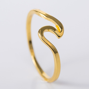 simple rose gold unisex wave shape ring