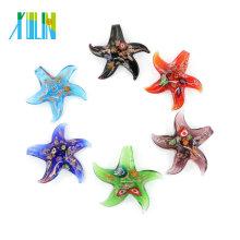 Millefiori y arena de oro Estrellas de mar de cristal de murano colgantes de vidrio hechos a mano colgantes para collar 12pcs / box, MC0008