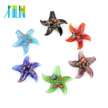 Millefiori and gold sand Starfish Lampwork Glass Pendants Handmade Foil Glass Pendants for necklace 12pcs/box, MC0008