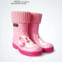 Niños y adultos 100% poliéster hechas punto precioso Welly calcetines para Rainboot
