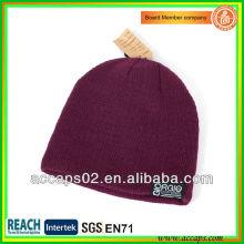 Bonnet en tricot acrylique en Bourgogne avec votre logo en gros (Chine) BN-2031