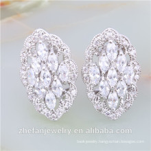 2018 trend occasion special clear cz stud earrings Rhodium plated jewelry is your good pick