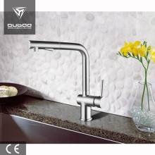 Centerset Gęsiej szyi Chrome Pullout Kitchen Sink Mixer Tap