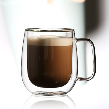 double wall glass cup with handle for coffee or tea