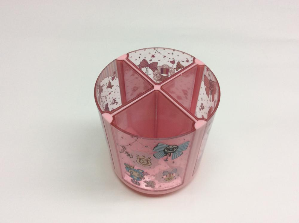 Plastic four compartments pen holder