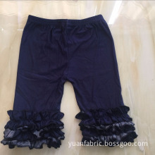Dark Wash Children Ruffle Cotton Denim Capri Jeans