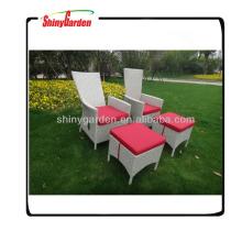 Moderner Rattanstuhl mit hohem Rücken, Aluminiumrattanstühle, französischer Stuhl mit Rattan