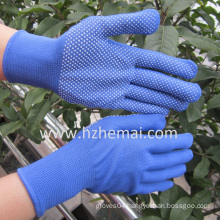 PVC Mini Dots Blue Polyester Gloves Safety Work Glove