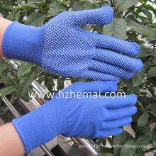 PVC Mini Dots Luvas de poliéster azul Luva de trabalho de segurança