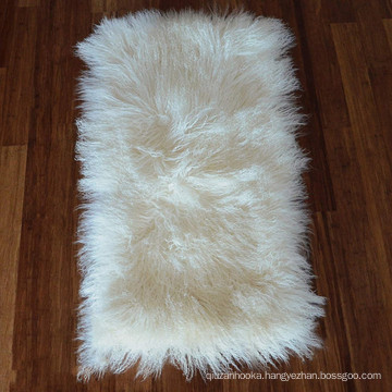 Top quality long hair curly real tibetan mongolian lamb fur plate