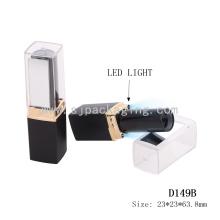 Moda LED light batom recipiente vazio quadrado batom tubo com espelho impermeável batom tubos