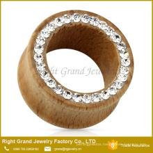 Customized Size Rhinestone Jewelled Organic Natural Wood Ear Tunnels Jewelry