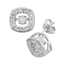 Hot Sales 925 Silver Stud Earrings Dancing Diamond Jewelry