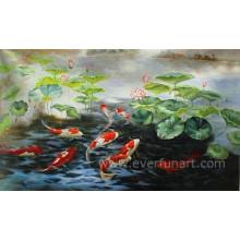 Pintura abstrata moderna Hand-Painted dos peixes