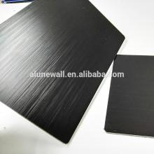 Painel compacto de alumínio preto da espessura da escova de 3mm acp