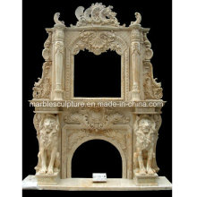 Luxury Double Marble Fireplace with Lions (SY-MF204)