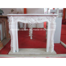 Natural Stone Hand Carved Marble Fireplace with Flowers (SY-MF140)