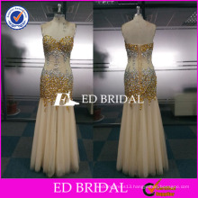ED Bridal Factory Custom Made Beaded Crystal Mermaid Tulle Long Party Dress