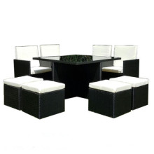 Praktische schwarze PE Rattan Garten Speisesaal Set