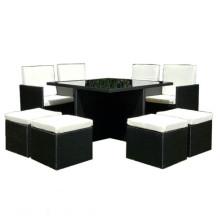 Práctica Negro PE Rattan jardín comedor cubo conjunto