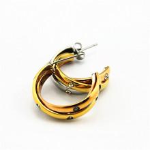 Оптическая золотая нержавеющая сталь IP самой популярной дешевой кристаллической серьги для спирали