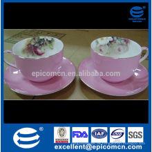 Rosa Glasur Gold Linie feine Knochen Porzellan Tasse und Untertasse Lager auf Verkauf