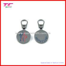 Tirador de metal personalizado de forma redonda Zip para prendas de vestir