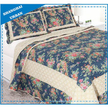 Indigo Roses Printed Polyester Quilted Bedspread Set