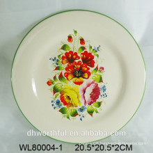 Ceramic plate w/ flower decal printing