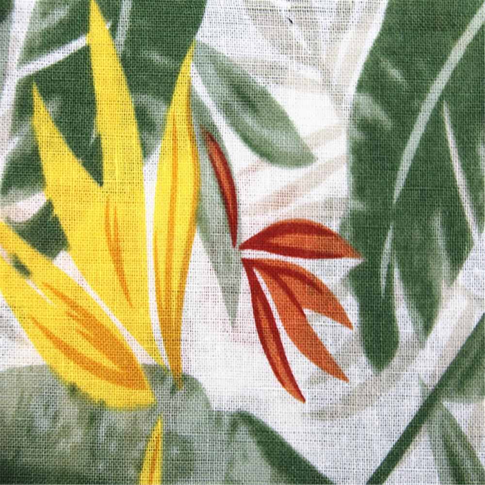 Plant Printed Linen Cotton Fabric