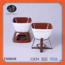 Conjunto de fondue de queijo de cerâmica mais quente com vela e garfo, FDA / SGS / LFGB certificação fondue conjunto