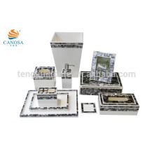 10pcs preto MOP shell tecido caixa de caixote de moldura moldura de armazenamento caixa de bandeja de escova de titânio artesanato escudo shell
