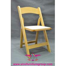 Chaise pliante rembourrée en bois en gros, chaises pliantes à mariage