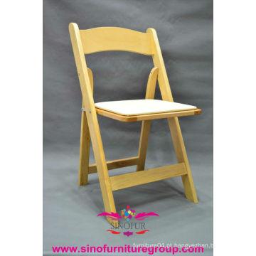 Cadeira dobrável de madeira por atacado, cadeiras dobráveis de casamento usados