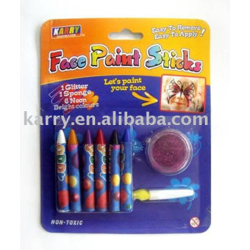 6-color face paint with glitter power