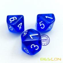 Bescon Polyhedral 10 Sides Dice with Number 1-10, Blue Transparent 10 Sided Dice, 10 Sides Cube 1-10