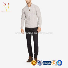 Men's Long Sleeves Cashmere Cable Fashion Sweater Half Zip Pullover