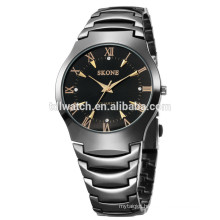 SKONE 7133 IP black quartz analog water resistant watches