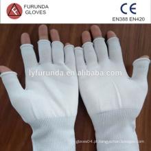 Luvas de segurança de nylon sem dedos superiores