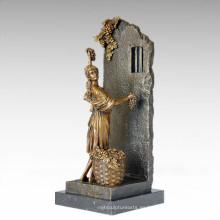 Estatua clásica de la estatua de uva Maiden escultura de bronce TPE-1011