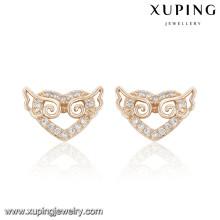 91655 Xuping Nuevo diseño al por mayor chapado en oro cz stud pendiente