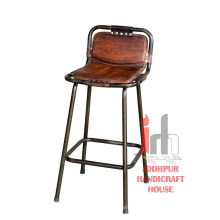 Chaise de bar en cuir
