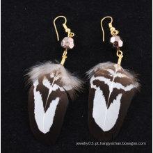 Popular Atacado Natural Metal Feather Brincos