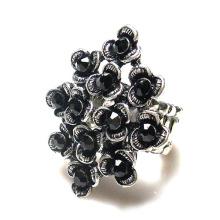 Beautiful Big Vintage Black Glass Rhinestone metal alloy flower Stretch Ring for woman